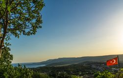 Panoramic view from hill at a sunny day royalty free stock photography