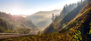 Panoramic view of the hills of Sakhalin. Royalty Free Stock Image