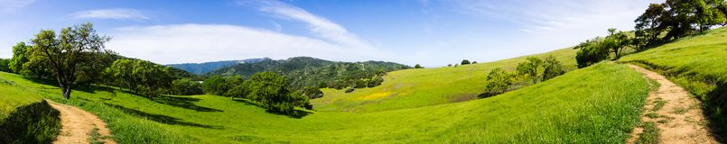 Panoramic view of hills and valleys of the newly opened Rancho San Vicente Open Space Preserve, part of Calero County Park, Santa stock photography