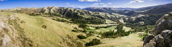 Panoramic view of the hills and valleys of Sunol Regional Wilderness, San Francisco bay area, California stock image