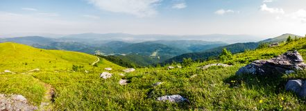 Panoramic view from the hillside. Beautiful mountain Carpathian landscape Royalty Free Stock Photography
