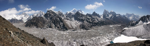 Top of the World in Himalayas Everest area panoram Royalty Free Stock Image