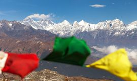 Panoramic view of himalayas range and mount Everest Stock Images