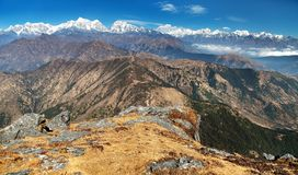 Panoramic view of himalayas range from Pikey peak Royalty Free Stock Image
