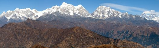 Panoramic view of himalayas range from Pikey peak Stock Image