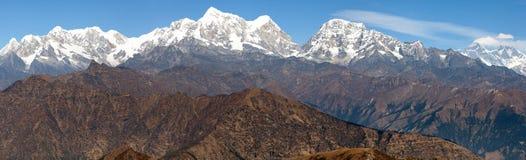 Panoramic view of himalayas range from Pikey peak Stock Image