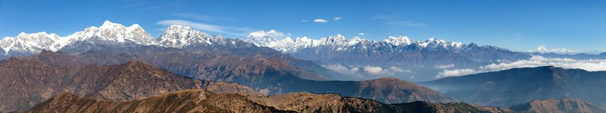 Panoramic view of himalayas range from Pikey peak Royalty Free Stock Photography