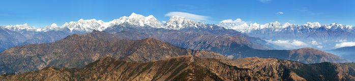 Panoramic view of himalayas range from Pikey peak Royalty Free Stock Photos