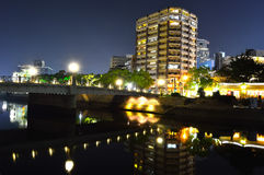 Panoramic view with Hiroshima City at night Royalty Free Stock Photos