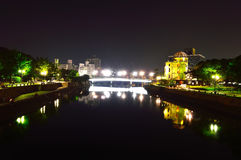 Panoramic view with Hiroshima City at night Stock Photo