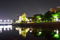 Panoramic view with Hiroshima City at night Stock Photos