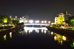 Panoramic view with Hiroshima City at night Stock Images