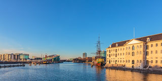 Panoramic view of historic buildings in Amsterdam Royalty Free Stock Images