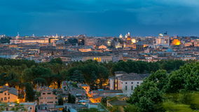 Panoramic view of historic center day to night timelapse of Rome, Italy. Panoramic view of historic center day to night transition timelapse of Rome, Italy stock video footage