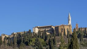 Panoramic view of the historic center of Pienza from below, Siena, Tuscany, Italy royalty free stock images
