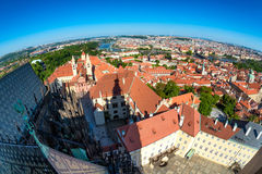 Panoramic view of the historic center of Prague from the South Tower of St Vitus Cathedral. Prague, Czech Republic Royalty Free Stock Photography