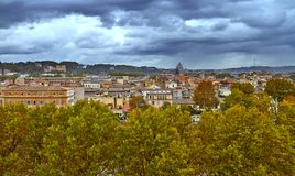 Panoramic view of historic center of Rome. Panorama building evening stock photography