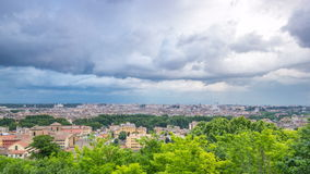 Panoramic view of historic center timelapse of Rome, Italy. Cityscape with heavy dramatic clouds and rain stock video footage