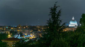 Panoramic view of historic center with Vatican night timelapse of Rome, Italy. Cityscape from top stock video