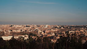 Panoramic view of the historic centre of Rome, Italy. Camera moving right. Sunny day in the capital stock footage