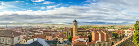 Panoramic view of the historic city of Avila with dramatic cloud Royalty Free Stock Images