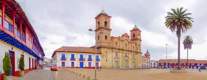 Panoramic view, historic city center Zipaquira Royalty Free Stock Photos