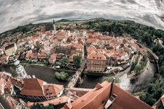 Panoramic view of the historic city of Cesky Krumlov with famous Royalty Free Stock Photo