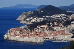The old city of Dubrovnik. Panoramic view of the historic city of Dubrovnik at the Adriatic coast of Croatia stock images