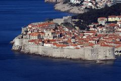 The old city of Dubrovnik. Panoramic view of the historic city of Dubrovnik at the Adriatic coast of Croatia stock image