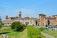 Panoramic view of the historic city of Mantua with the provicial road Royalty Free Stock Photography
