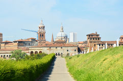 Panoramic view of the historic city of Mantua with the provicial road Royalty Free Stock Photos