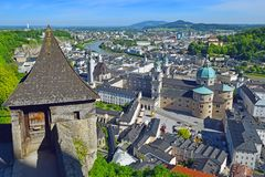 Panoramic view of the historic city of Salzburg, Austria. Panoramic view of the historic city of Salzburg with beautiful Salzach river and Salzburg Cathedral royalty free stock images