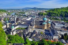 Panoramic view of the historic city of Salzburg, Austria. Panoramic view of the historic city of Salzburg with beautiful Salzach river and Salzburg Cathedral royalty free stock photos