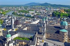 Panoramic view of the historic city of Salzburg, Austria. Panoramic view of the historic city of Salzburg with beautiful Salzach river and Salzburg Cathedral stock images