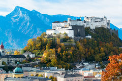Panoramic view of the historic city of Salzburg Stock Photo