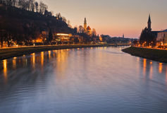Panoramic view of the historic city of Salzburg with Salzach river, blue hour, Salzburger Land, Austria Royalty Free Stock Photo
