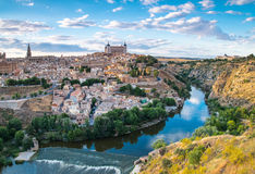 Panoramic view of the historic city of Toledo with river Tajo in. Stock Photo