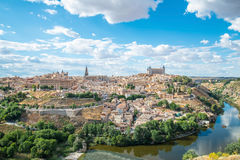 Panoramic view of the historic city of Toledo with river Tajo in. Stock Image