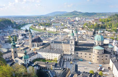 Panoramic view of the historic cty of Salzburg with Salzach riv Stock Images