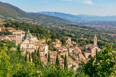 Panoramic view of the historic town of Assisi and Famous Papal B. Asilica of St. Francis of Assisi Basilica Papale di San Francesco Umbria, Italy stock photography