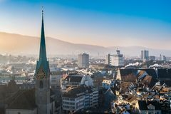 Panoramic view of historic Zurich city center Royalty Free Stock Image