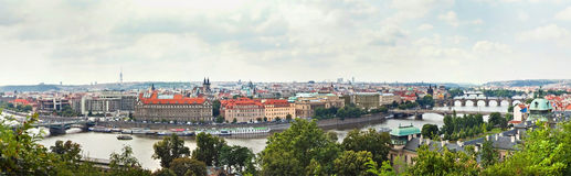 Panoramic view of historical buildings in Prague, Czech Republic Stock Photos