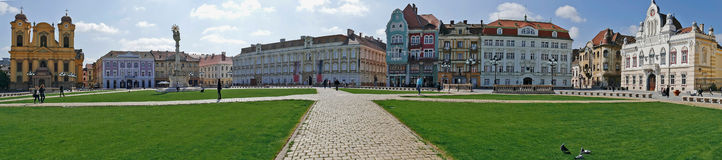 Panoramic view with historical buildings in Union Square, Timiso stock photo