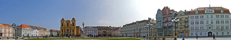 Panoramic view with historical buildings in Union Square, Timiso Royalty Free Stock Photography