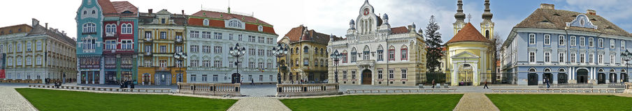 Panoramic view with historical buildings in Union Square, Timiso Royalty Free Stock Images