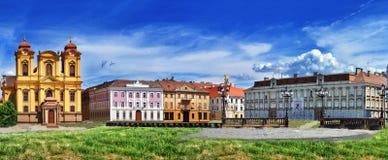 TIMISOARA, ROMANIA - JULY 04, 2015: Panoramic view with historical buildings in Union square.Timisoara, Romania Stock Image