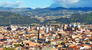 Panoramic view of the city Cuenca, Ecuador, with many churches stock photography
