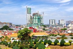 Panoramic view of the historical centre of Melaka. Royalty Free Stock Photos