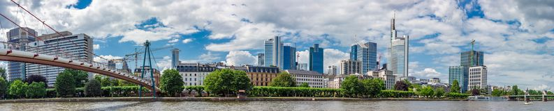 Panoramic View of Holbeinsteg Bridge and Frankfurt Skyline Royalty Free Stock Images