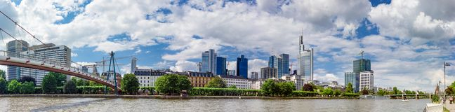 Panoramic View of Holbeinsteg Bridge and Frankfurt Skyline Royalty Free Stock Photography